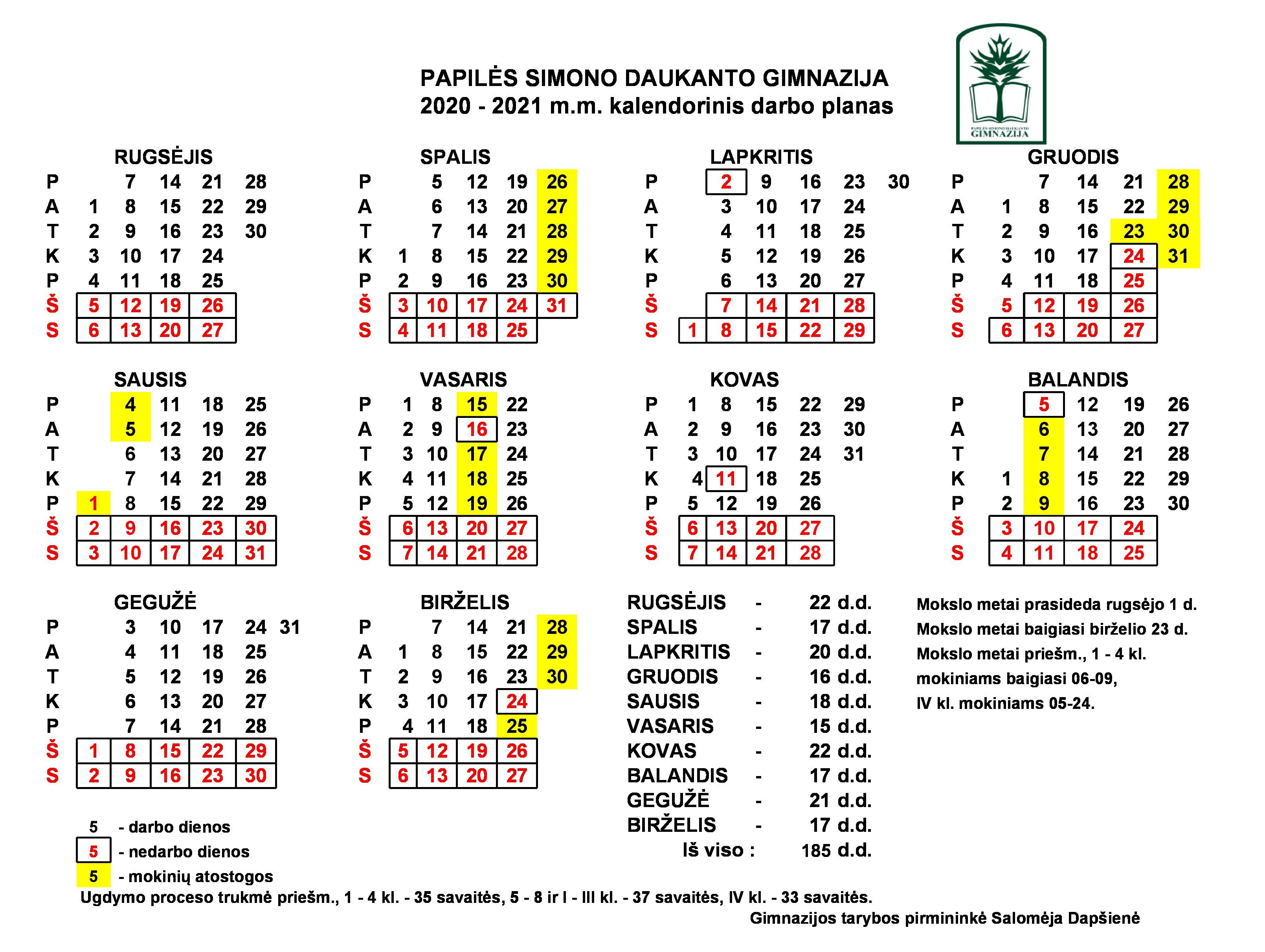 2020-2021 m.m. kalendorinis darbo planas