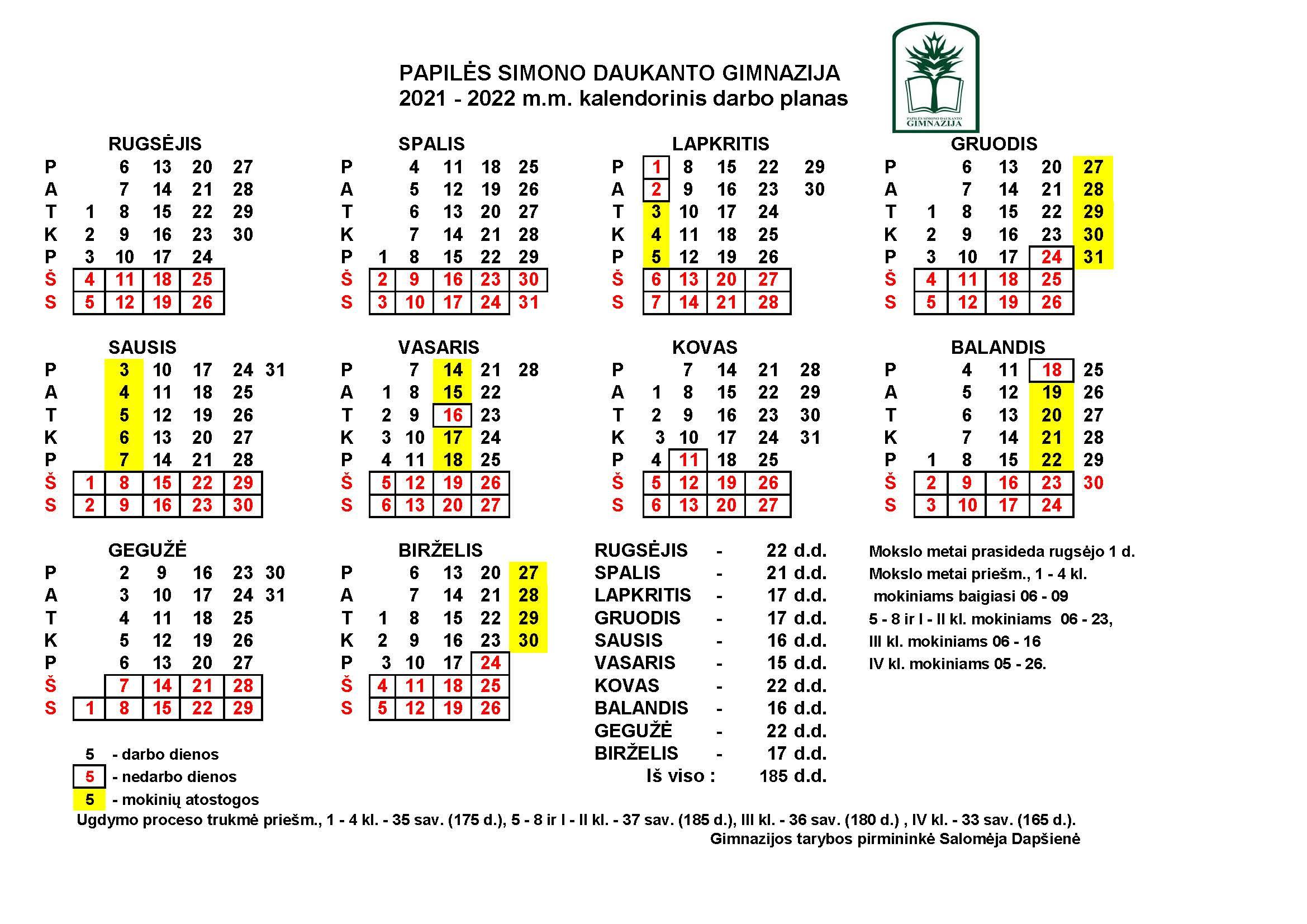 Kopija 2021-2022 darbo kalendorius
