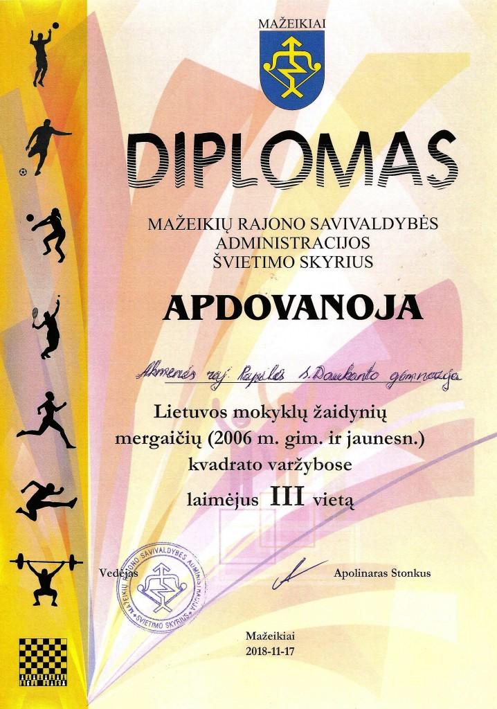 Diplomas zon. kv varzybos