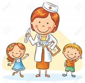 Cartoon doctor with happy little children, a boy and a girl, no gradients