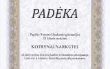 K. Narkutei už dalyvavimą Lietuvių kalbos ir literatūros olimpiadoje (2016-03-03)